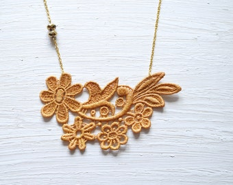 Gold Lace Statement Necklace