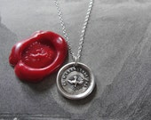 Wax Seal Necklace - Holy Spirit  - Forsake Me Not antique wax seal charm jewelry French dove by RQP Studio