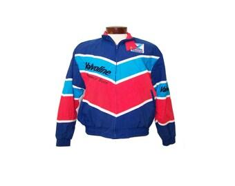 Vintage 80s Racing Cafe Jacket Valvoline Performance Team Mens Jacket Medium M Red White Blue Striped Jacket Windbreaker Jacket