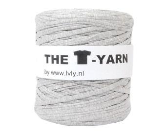 The t-shirt yarn 120-135 yards, 100% recycled cotton tricot yarn, sporty grey 138