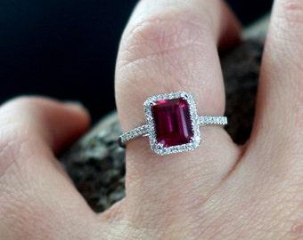 Ruby Engagement Ring Emerald Cut Diamonds Halo Ione 2ct 8x6mm Custom Size White-Yellow-Rose Gold-10k-14k-18k-Platinum