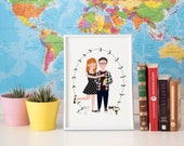 Custom Portrait Couple with pets / Custom save the date / Personalized Illustration / Custom family Drawing / Wedding or anniversary gift