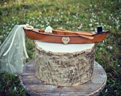 Canoe-boat-wedding-cake topper-rustic-fishing-woodland-fisherman-row boat-bride-groom-Mr and Mrs-country-customized-top hat-ivory veil