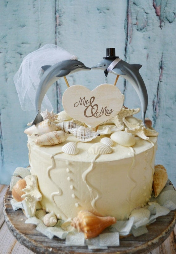 Dolphin couple wedding cake topperPorpoise wedding cake