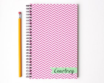 Personalized Journal Custom Blank Notebook School Supplies Geometric Pattern Pink and Mint Herringbone Note Book Notepad Office Supplies