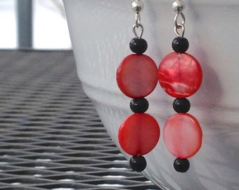 Sale Earrings, Salmon and Black, Polka Dot, Clearance Sale