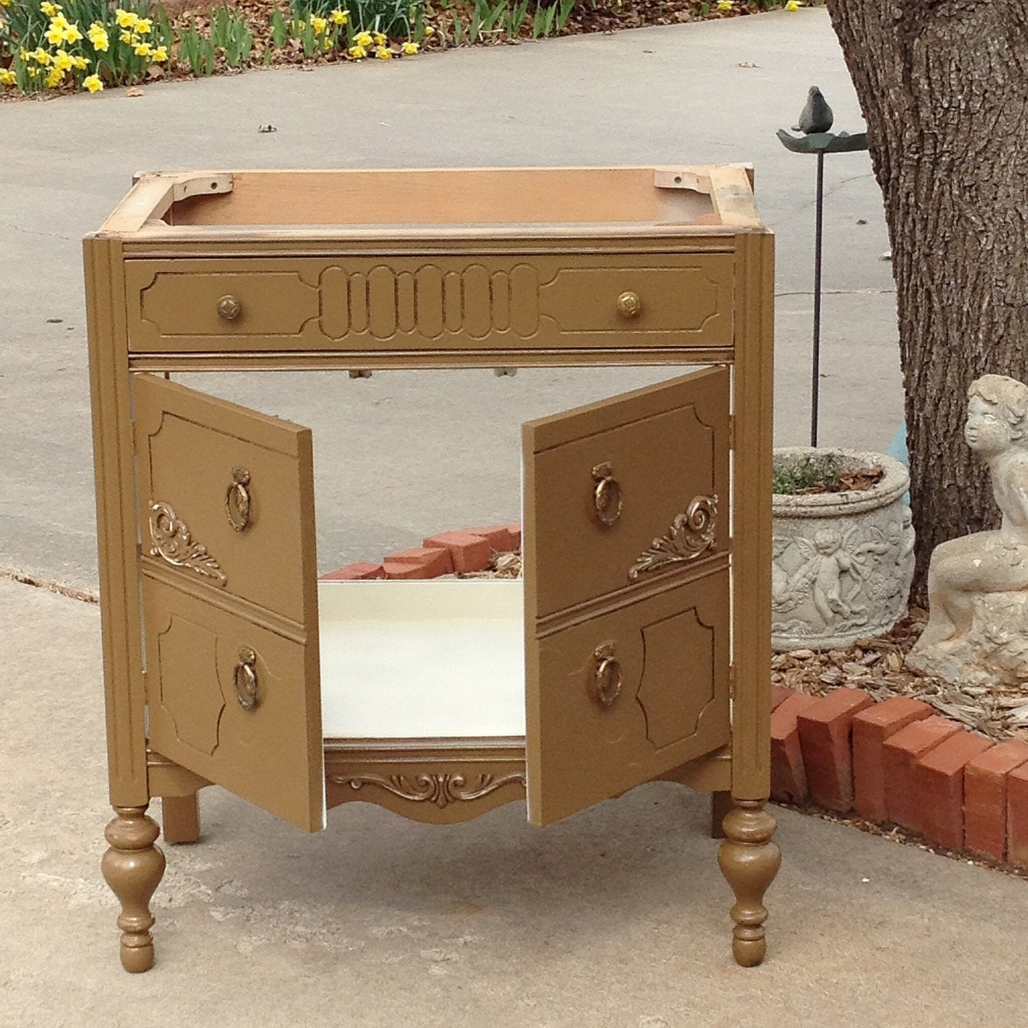 Bath Vanity Cabinet From Antique Dresser Custom To Order Converted For Bathroom 28 To 48 Wide