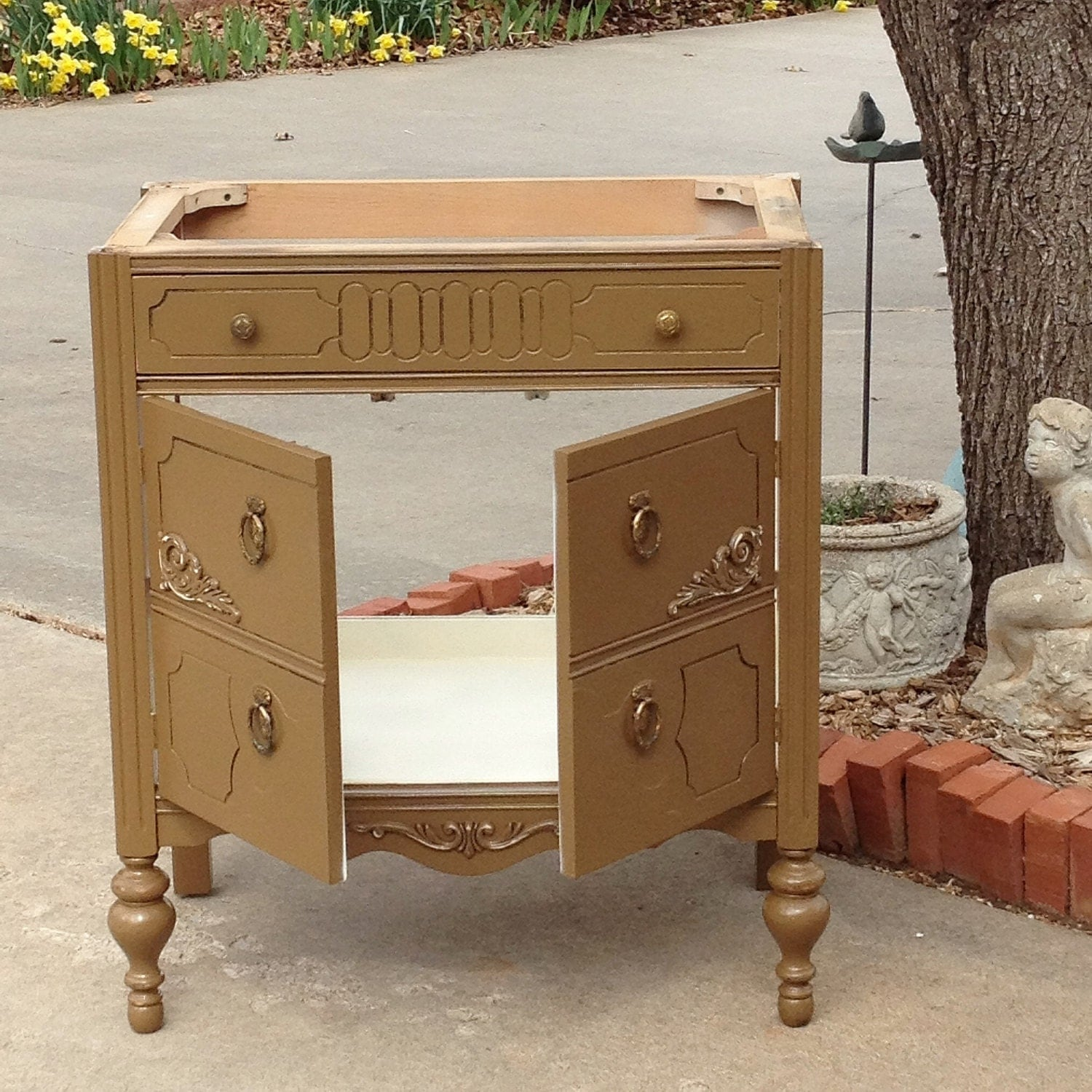 Bath vanity cabinet from antique dresser custom to order converted for bathroom 28 to 48 wide for Antique dresser bathroom vanity