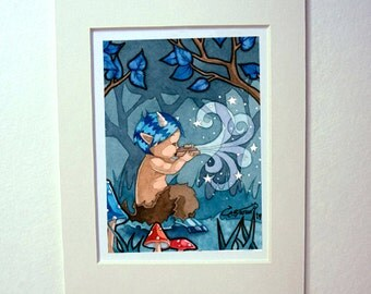 Satyr faun mythological matted art print watercolor painting magical fantasy creature