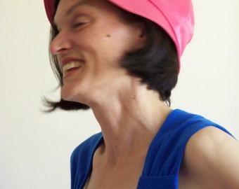 Vintage 60s Pink Beach Summer Hat - Bucket Hat aka Gilligan Hat by Jacoll