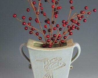 Pottery Vase - home decor - light blue - Hummingbird - gift for Mom