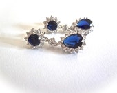 Blue Sapphire earrings - Cubic Zirconia' s - Halo - Something Blue - Bridal jewelry - September Birthstone - Elegant jewelry - KATE