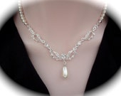 Pearl necklace ~ Brides necklace ~ Wedding necklace ~ Swarovski pearl sand crystals ~ Bridal jewelry ~ Mother of the bride ~