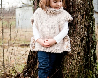Poncho, Sweater, Knit Pullover, Chunky Sweater, Pullover, (Toddler, Child, Adult Sizing) MADE TO ORDER