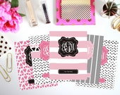 Binder Cover Printable - Set of 5 Inserts - Personalized Monogram Binder Cover and Spine Text (8.5x11in) - Instant Download
