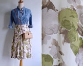 Vintage 80's Green Rose Floral High Waist Culotte Skort XXS or XS