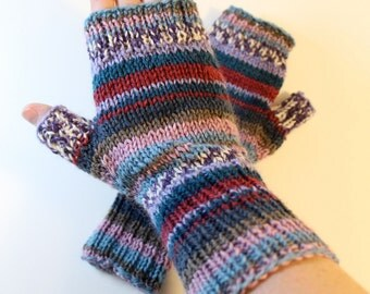 Patterned Fingerless Mittens: Ready to Ship