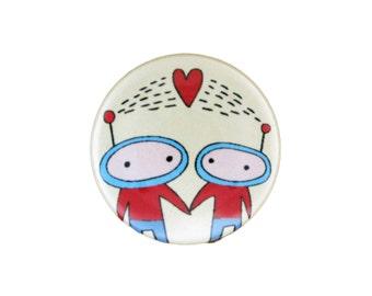 Aliens in Love - Alien Pin or Alien Magnet - Astronaut Pin or Astronaut Magnet