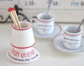 Vintage French Cafe Match Holder Striker in Porcelain