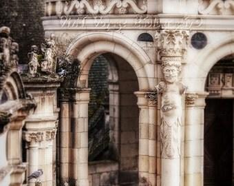 Architecture Art, Stone Castle, Pigeons, Cream and Black Decor, Castle Photograph, Travel Art, Photos Of France, Castle Art, Rustic Wall Art