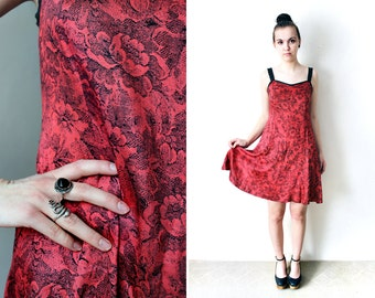 90s Boho Grunge Mini Dress Vintage Floral Summer Sun Dress Red Black Flower Print Minidress