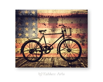 """Bicycle Art, Bicycle Print, Mixed Media Collage, Bicycle Gift, Grunge, Industrial Decor, """"American Bike"""""""