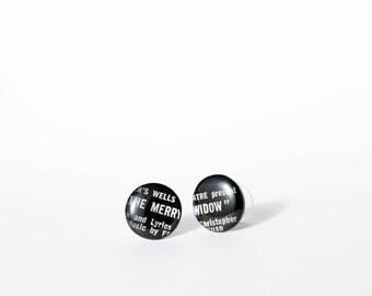 black post earrings LP stud earrings cool earrings 16mm black studs vinyl record studs black earrings ironic jewelry hypoallergenic studs
