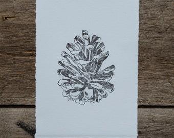 "Pine Cone Linocut ""Pine"", hand pulled linoleum block print in black on blue paper, original nature art"