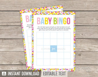 Baby Shower Bingo - Baby Sprinkle - Baby Shower Game - INSTANT DOWNLOAD - Printable PDF with Editable Text (BB01)