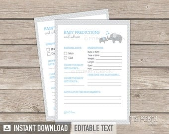Baby Predictions and Advice Card - Elephant Baby Shower Game - Boy Blue - INSTANT DOWNLOAD - Printable PDF with Editable Text