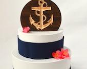 Nautical Wedding Anchor Cake Topper, burned wood cake topper
