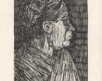 "van Gogh's Head of a Peasant Woman with Dark Cap. Ink on Paper. 8.5"" x 11.75"""