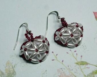 Pearl Heart Earrings, Heart Earrings, Pearl Earrings, White Pearl Earrings, Valentine Earrings, Holiday Earrings, Heart Jewelry, Dangle