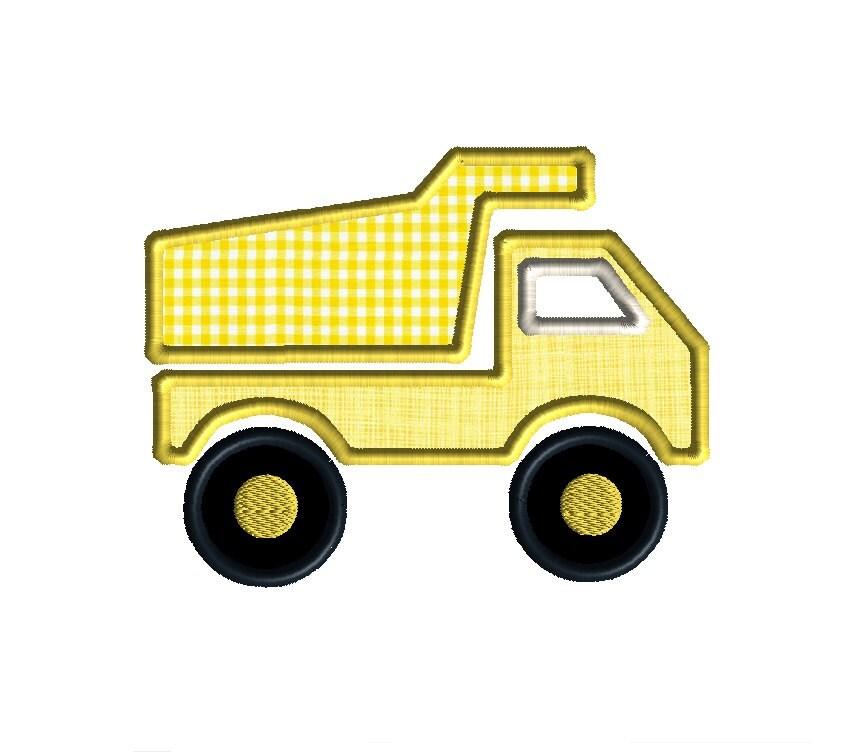 Dump truck applique machine embroidery design instant download