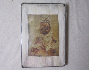 Creepy Doll Print on Wood Scary Horror Freak Altered Art Doll Photography Collography Disturbing Monster Zombie Gothic Dead Baby Print Wall