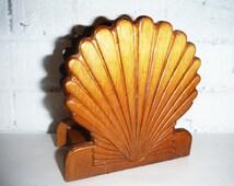 Vintage seashell napkin holder letter keeper desk organizer, beach office decor scallop wood
