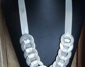 Statement necklace Washer Ribbon White necklace