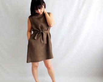 Brown linen tunic, tunci dress, hippie dress, aline dress, mini dress, short dress, simple dress, boho dress, alicecloset, Summer dress,