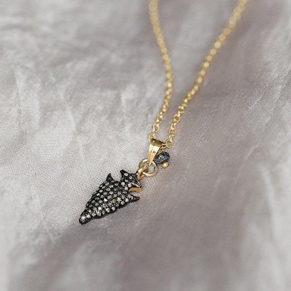 Pave Diamond Pendant - Diamond Arrowhead Necklace