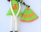 New '''' , Julie , soft doll, handmade  rag doll, wearing  beret ,scarf,skirt and socks ,  ready to ship,stuffed doll