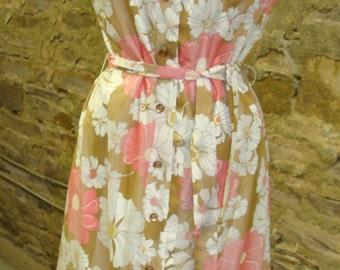 vintage LIBERTY CIRCLE belted shift DRESS pink tan floral sleeveless M