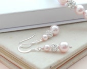 Ella Blush Pink Pearl Drop Earrings Wedding Jewellery Baby Pink Dangle Earrings Valentines Gift  Wedding Earings Bridesmaids Gift Etsy UK