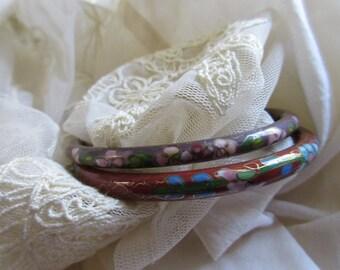Vintage Cloisonné  Bracelets Cloisonne Enameled Floral Bangle Rust and Mulberry Gorgeous Shape costume jewelry