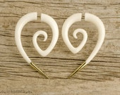 Fake Gauge Earrings Spiral Hornet with Golden Tip Gothic Tribal Style Buffalo White Bone Organic - FG078 B G1
