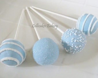 Cake Pops: Blue Baby Shower Cake Pops Made to Order with High Quality Ingredients, 1 dozen