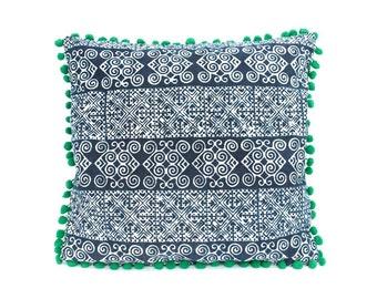 Hmong Fabric Batik Cushion Cover With  Poms Poms (CS5380-1C6)