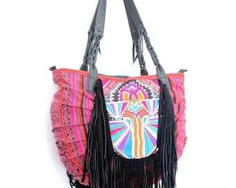 Shoulder Bag Batik With In-House Embroidered Leather Strap Thailand  (BG5488-1C8)