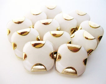 White Gold Square Buttons, Dozen Cube Pearl Gold Vintage Sewing Button