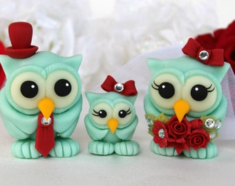Custom wedding owl cake topper, bride and groom with baby owl, love birds family, aquamarine red wedding