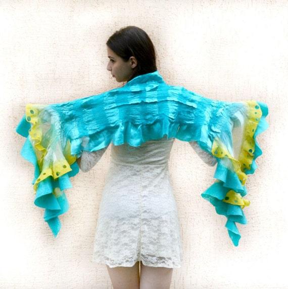 Felt Scarf, nuno felt scarf, wool felt , Felted ruffle scarf , turquoise scarf ,gift for women